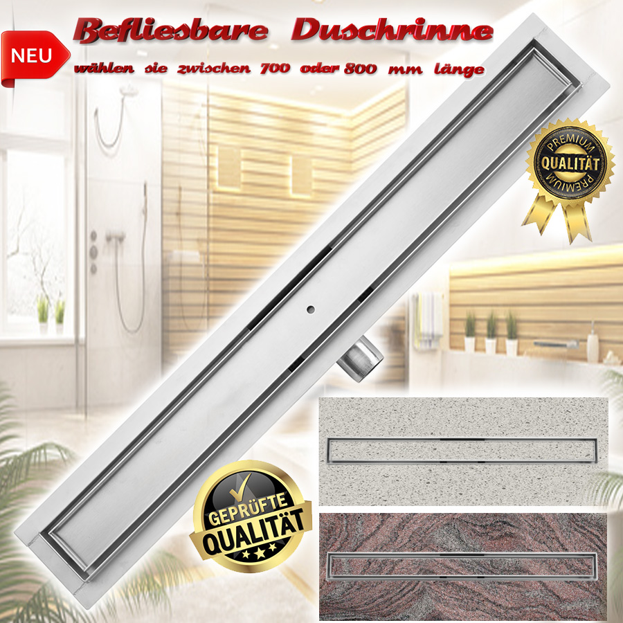 befliesbare duschrinne edelstahl duschablau siphon dusch. Black Bedroom Furniture Sets. Home Design Ideas