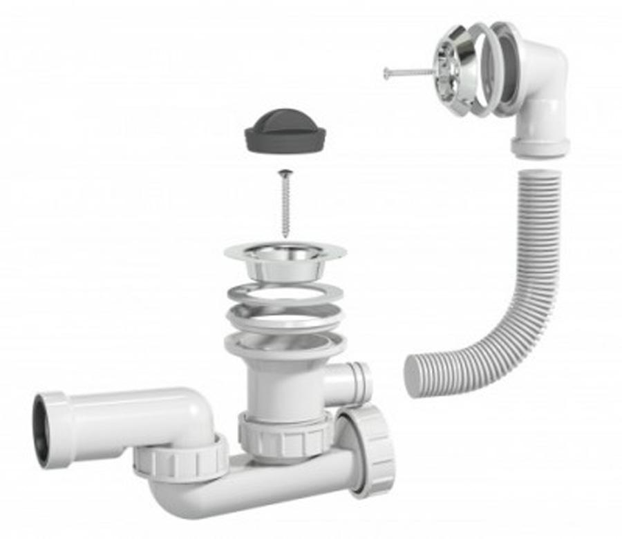 Badewanne Ablaufgarnitur Wannenablauf Abfluss Sifon Siphon Überlauf Wanne Bad A+