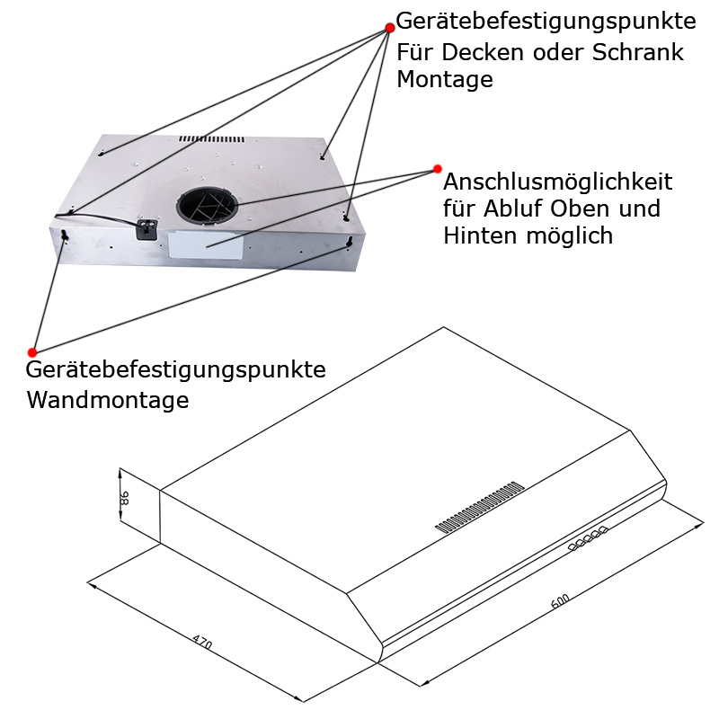 dunstabzugshaube unterbauhaube dunstabzug edelstahl und. Black Bedroom Furniture Sets. Home Design Ideas