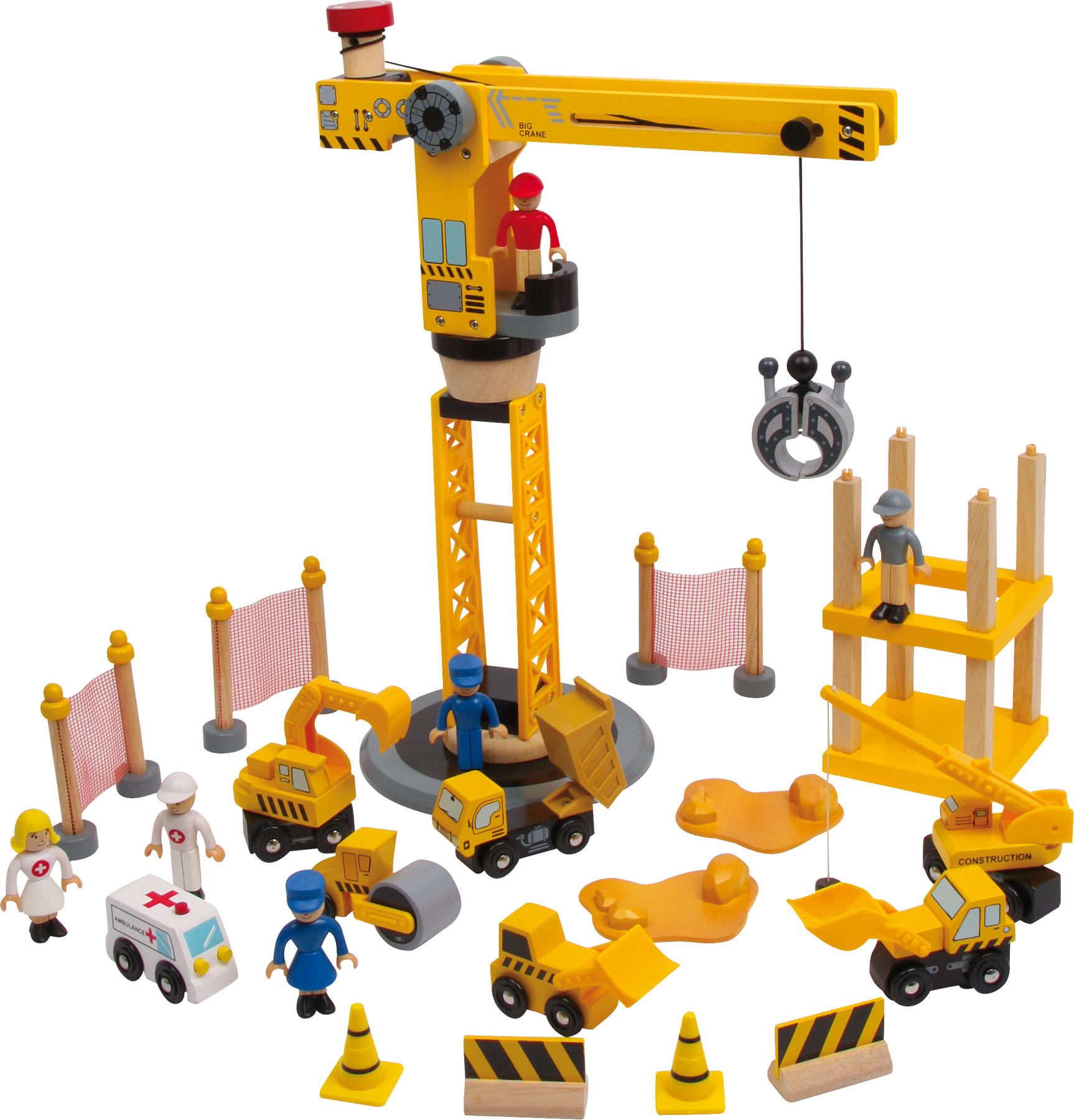 Construction Site Toys : Crane play set city cm wood construction site wooden
