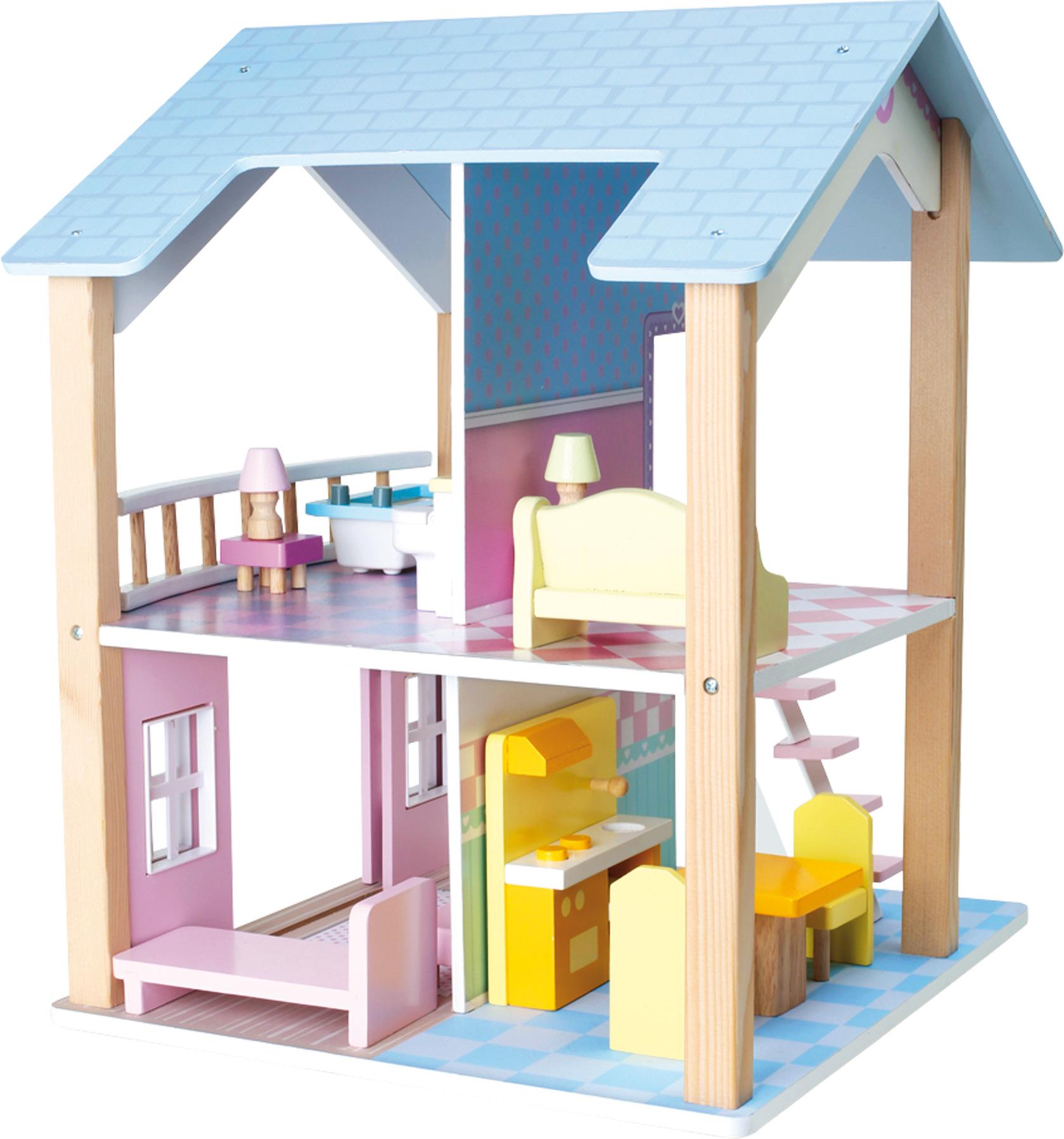 puppenhaus 2 etagen drehbar 15 m belst cke holz ab 3 jahre ca 42 x 39 x 50cm neu ebay. Black Bedroom Furniture Sets. Home Design Ideas