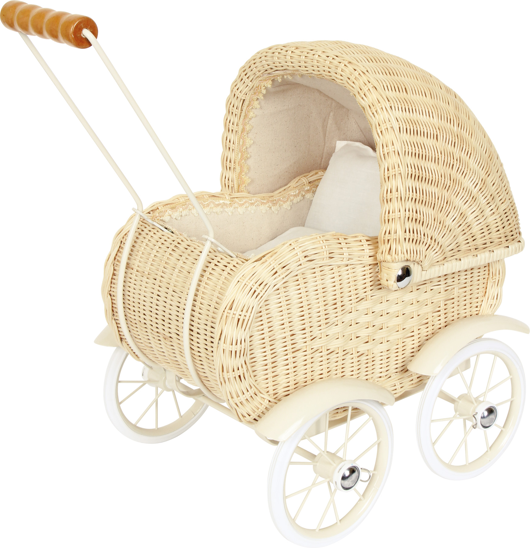 Nostalgie Basket Doll Pram With Linen Running Cart Wooden