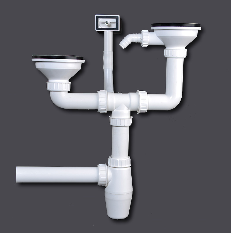 Double Kitchen Siphon Sink Drainage Sinks Sieve Basket