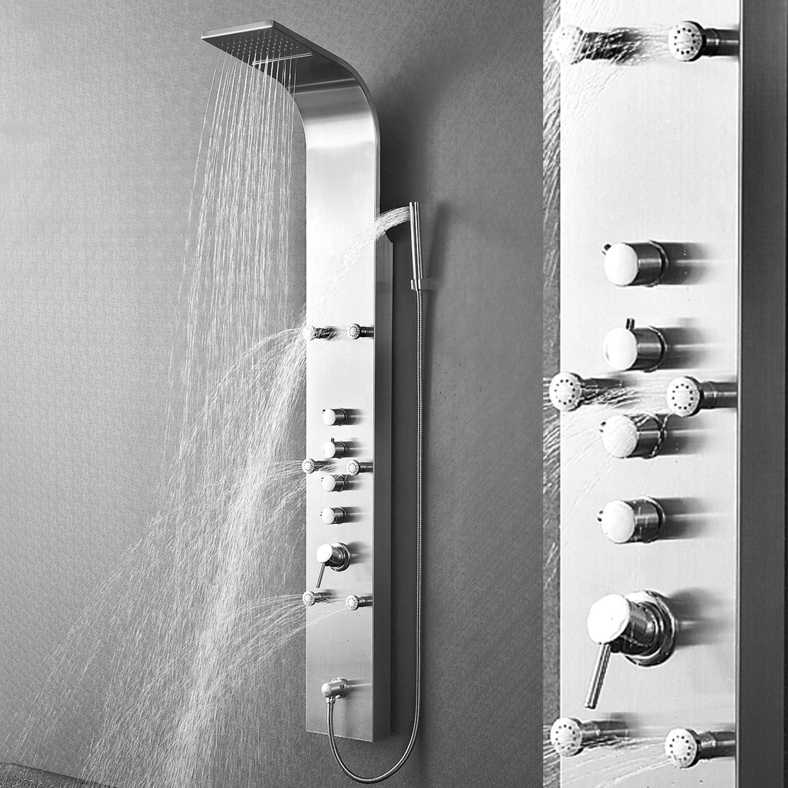 wasserfall edelstahl duschpaneel duschs ule schwallbrause brausepaneel massage. Black Bedroom Furniture Sets. Home Design Ideas